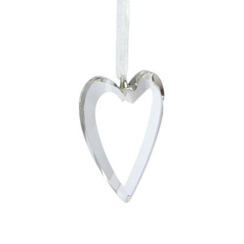 Lasi 'kristalli' sydän 6cm organzanauha