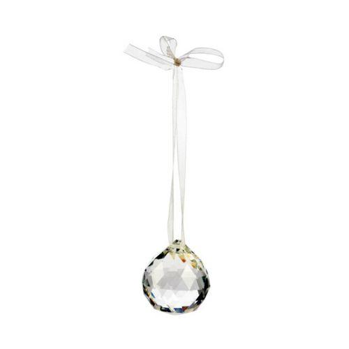 Lasikristallipallo 4cm valk. organzanauha