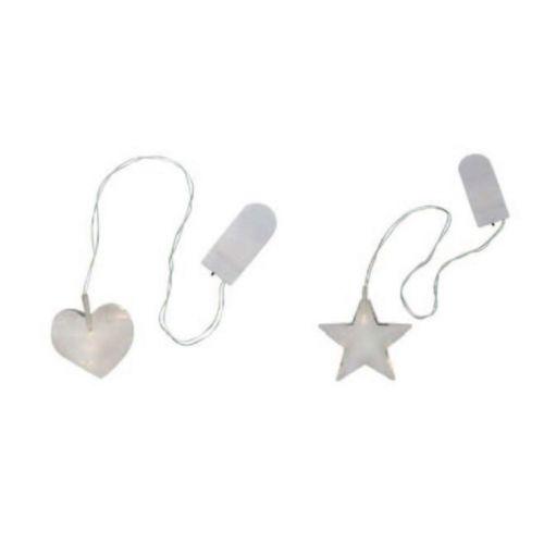 Lasi 'kristalli' sydän & tähti 5cm/7cm, LED valolla