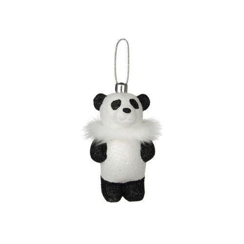 90mm Lumiglitteri panda, valkoinen turkiskaulus