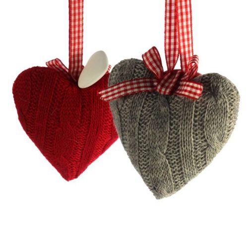 Neulottu sydän 10cm 2 laj. punainen, harmaa