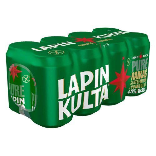 LAPIN KULTA PURE 4,5% GLUTEENITON 0,33 TLK 8-PACK 2,64 L
