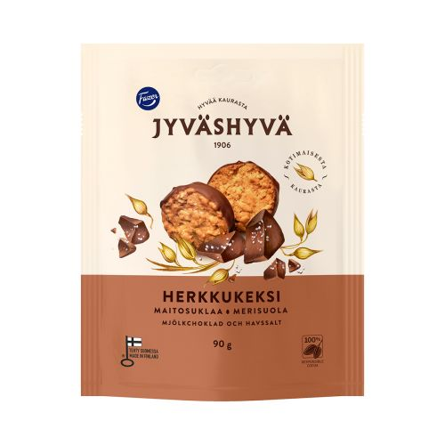 JH JYVÄSHYVÄ HERKKUKEKSI MAITOSUKLAA-MERISUOLA 90 G