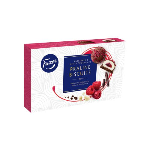 FAZER PRALINE BISCUITS RASPBERRY WHITE CHOCOLATE 60 G