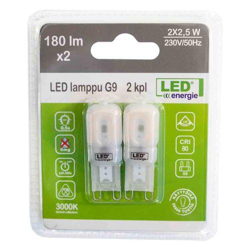 LED ENERGIE LAMPPU G9 230VAC, 2,3W, 180LM, 3000K, 2 KPL