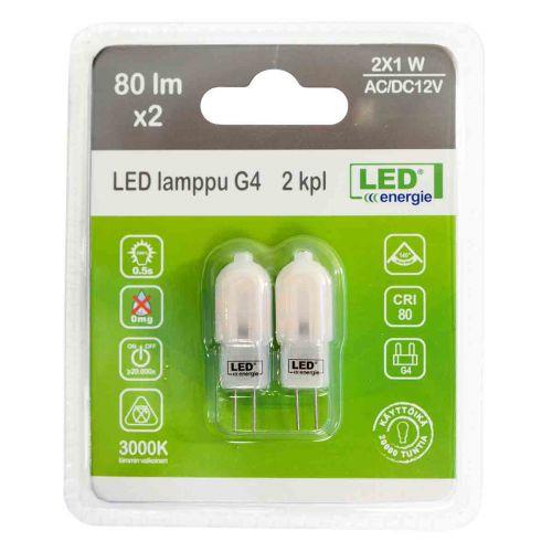 LED ENERGIE LAMPPU G4 12V 1,2W 90LM 3000K, 2 KPL