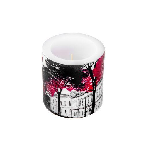 Vallila kynttilä Aurajoki 8cm punainen/valkoinen