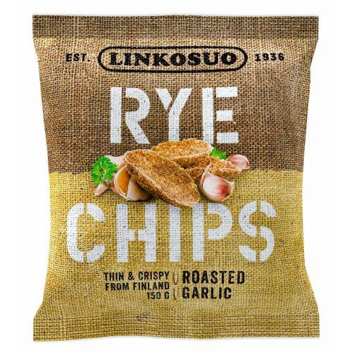 LINKOSUO RYE CHIPS ROASTED GARLIC 150 G