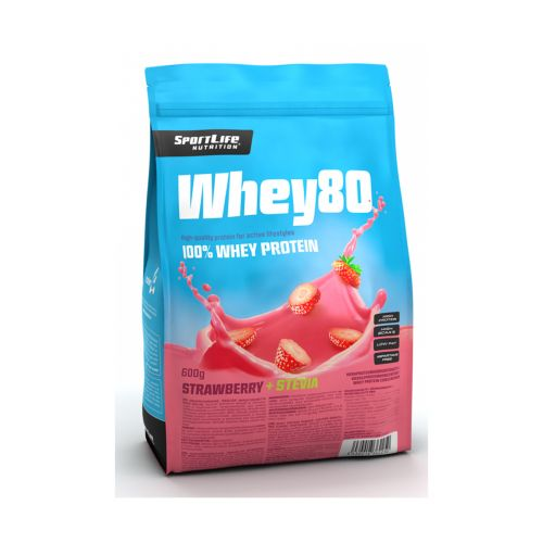 SPORTLIFE NUTRITION WHEY80 HERAPROTEIINIJAUHE MANSIKKA/STEVIA 600 G