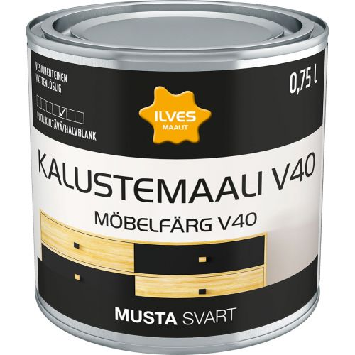 ILVES KALUSTEMAALI V40 MUSTA 750 ML
