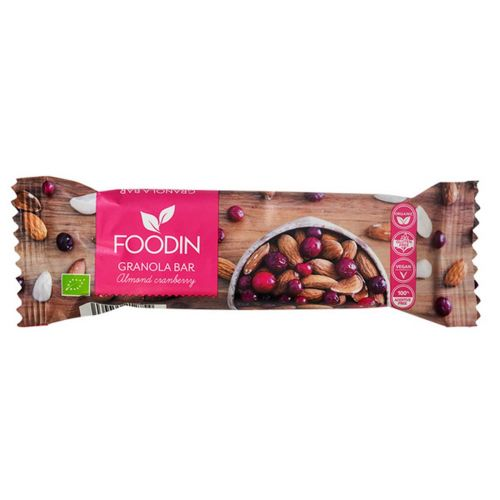 FOODIN GRANOLA BAR ALMOND CRANBERRY LUOMU 40 G