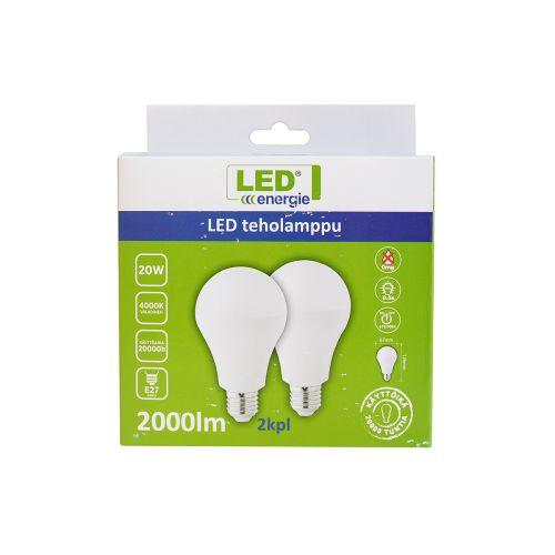 LED ENERGIE TEHOLAMPPU LED 20W, 2000LM, 4000K, A67/E27, 2 KPL