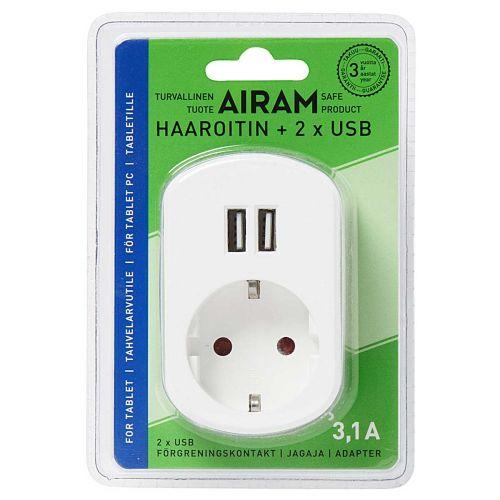 AIRAM USB ADAPTERI 2XUSB 3,1A