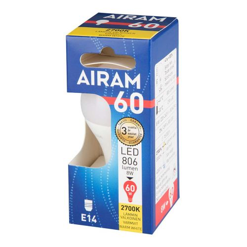 AIRAM AIRAM LED MAINOSLAMPPU OPAALI 8,0W E14 806LM, 15 000H