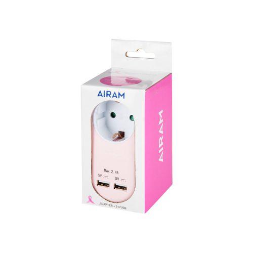 Airam Roosa nauha pistoke + dual USB 2,4A