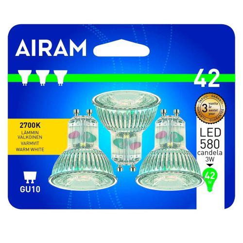 AIRAM LED 3PACK BL KIRKASLASI 3W GU10, PAR16, 2700K 25