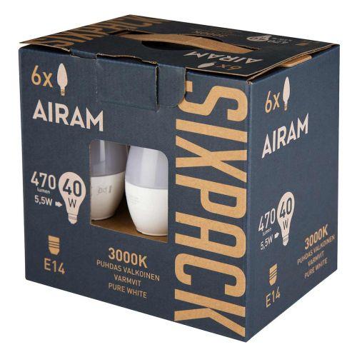 AIRAM LED KYNTTILLAMPPU SIXPACK 5,5W E27, 3000K 470 LM, 3000K,