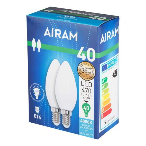 AIRAM OPAL LED 2PACK 4,5W CANDLE E14, 4000K 470 LM, 12 00