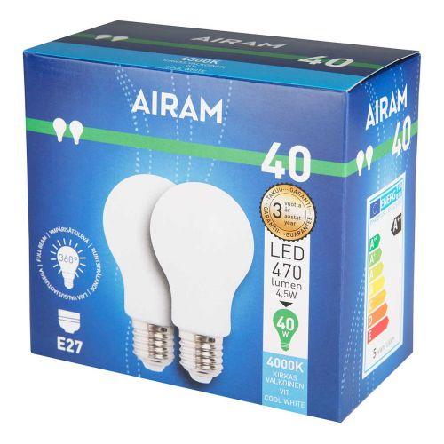 AIRAM OPAL LED 2PACK 4,5W A60 E27, 4000K 470 LM, 12 000H