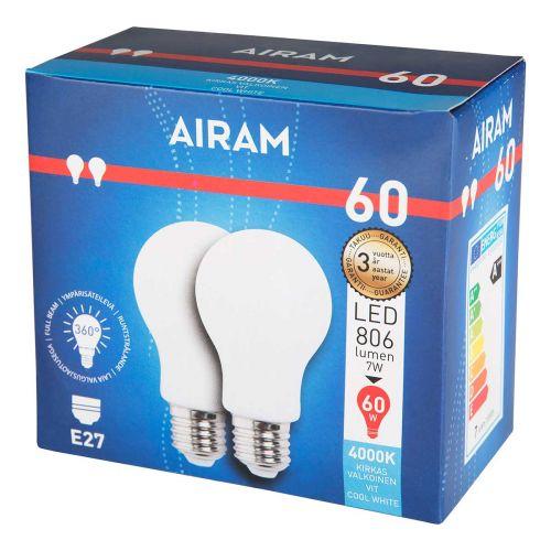 AIRAM OPAL LED 2PACK 7W A60 E27, 4000K 806LM, 12 000H