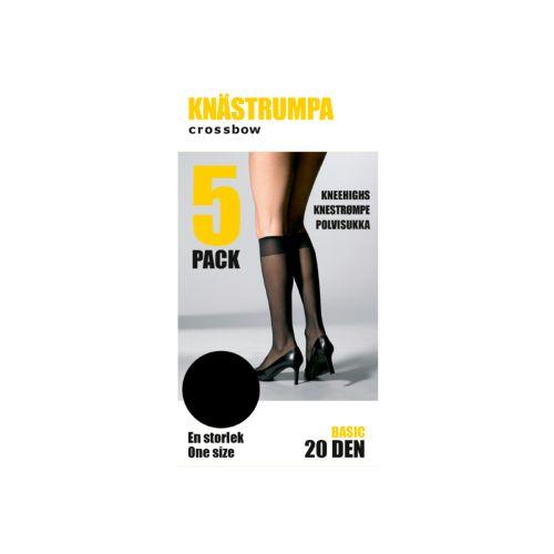 CROSSBOW NAISTEN 5-PACK POLVISUKKA, 20DEN, MUSTA