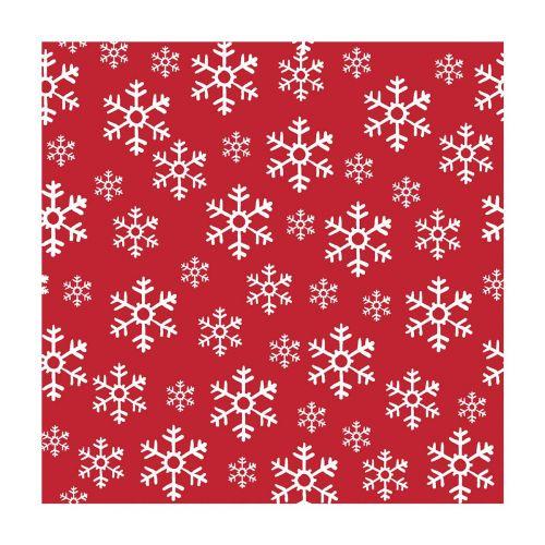 DUNI LAUTASLIINA 33CM RED SNOWFLAKES 20KPL