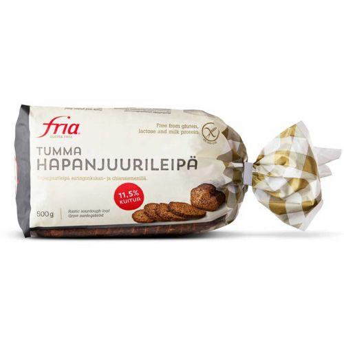 FRIA TUMMA HAPANJUURILEIPÄ GTON 500 G