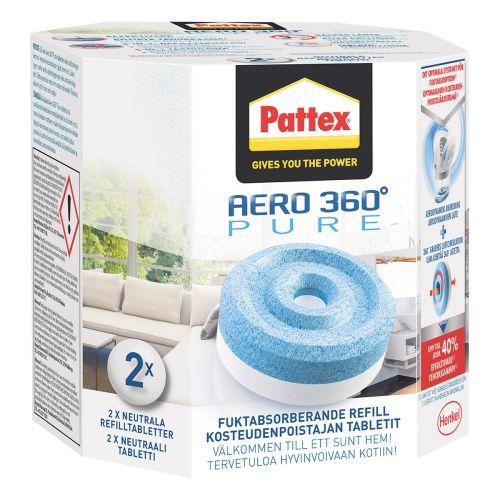 PATTEX AERO360 KOSTEUDENPOISTAJA TÄYTTÖPAKKAUS 2X450G NEUTRAALI