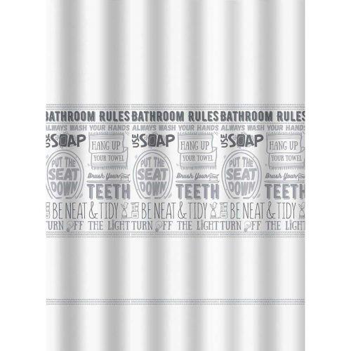 PISLA SUIHKUVERHO BATHROOM RULES 180x200 CM TEKSTIILI