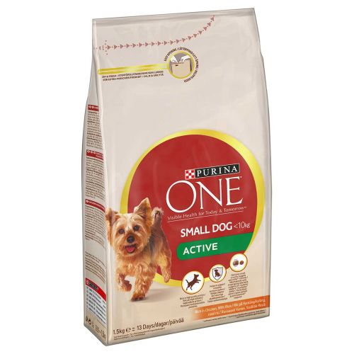 PURINA ONE SMALL DOG ACTIVE KANA-RIISI 1,5 KG