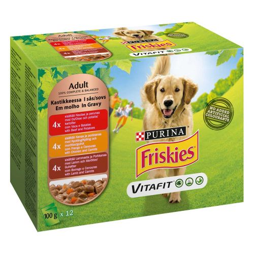 PURINA FRISKIES KOIRAN ANNOSP. ADULT KASTIKKEESSA 100G 12-PACK 1,2