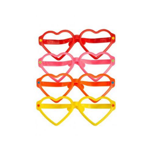 Jättihupilasit sydämet lajitelma 4 eri väriä (ilman linssejä)