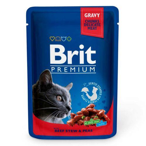 BRIT PREMIUM CAT ADULT GRAVY BEEF STEW & PEAS 100 G