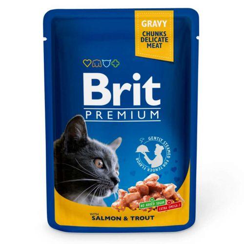 BRIT PREMIUM CAT ADULT GRAVY SALMON & TROUT 100 G
