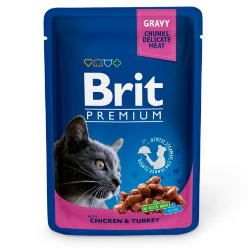 BRIT PREMIUM CAT ADULT GRAVY CHICKEN & TURKEY 100 G