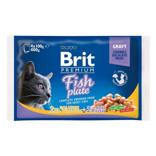 BRIT PREMIUM CAT ADULT FISH PLATE 4*100G 400 G