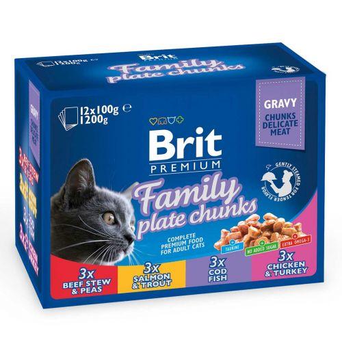 BRIT PREMIUM CAT ADULT FAMILY PLATE CHUNKS 12*100G 1,2 KG
