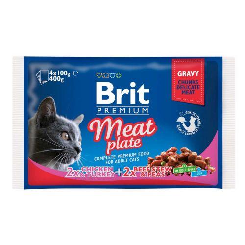 BRIT PREMIUM CAT ADULT MEAT PLATE 4*100G 400 G