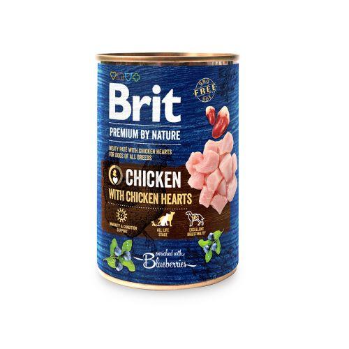 BRIT PREMIUM BY NATURE PATE CHICKEN WITH CHICKEN HEARTS 400 G