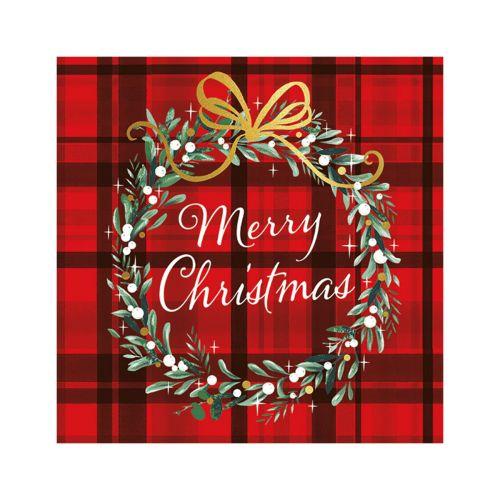 AMBIENTE LAUTASLIINA 33X33 CHRISTMAS PLAID RED
