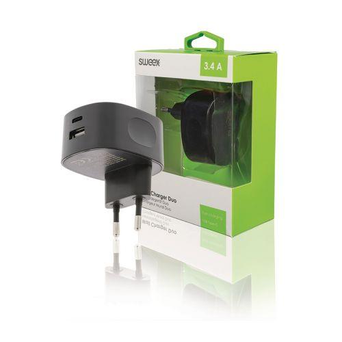 SWEEX SEINÄLATURI 3.4 A, USB/USB-C, MUSTA
