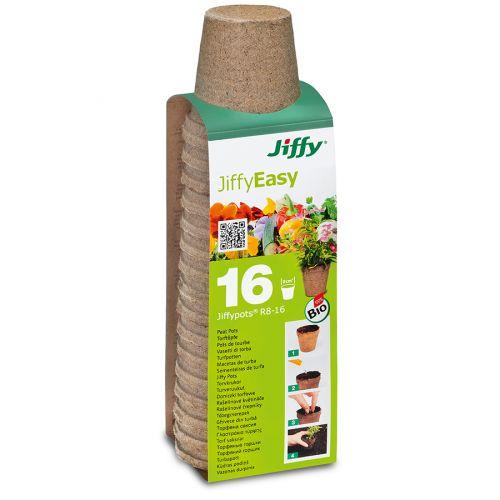 JiffyEasy turveruukku 8cm pyöreä 16kpl/pkt