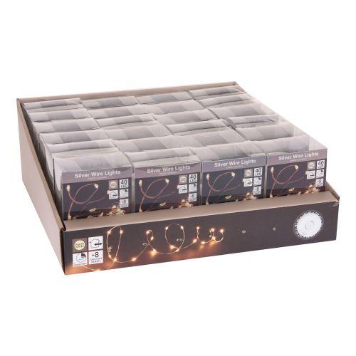 Led 40 valosarja lämmin valkoinen, toimii paristoilla, sisäkäyttöön