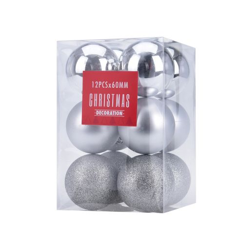 Joulupallot 12kpl 60mm hopea