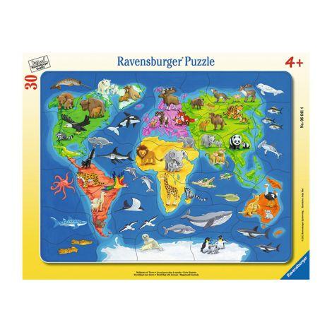 Ravensburger Maailman kartta ja eläimet palapeli 30