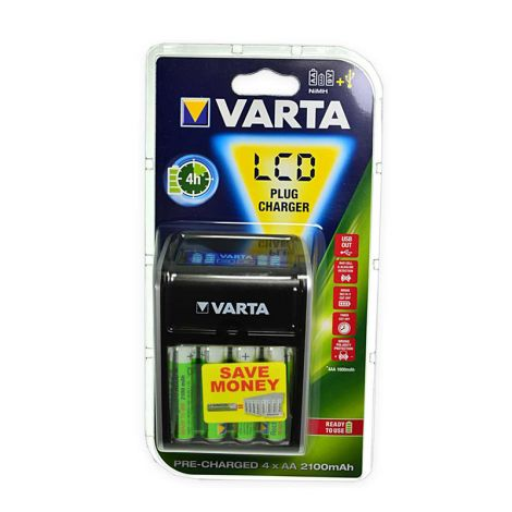 Varta LCD Plus Charger latauslaite + 4xAA 2100mAh akkuparistoa