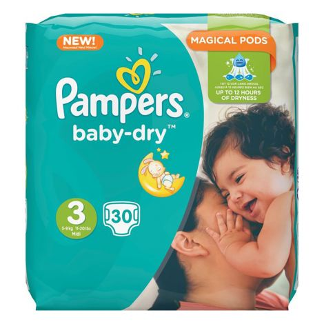 PAMPERS BABY DRY S3 5-9KG NORMAALIPAKKAUS 30 KPL 30 KPL