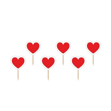 CUPCAKE TOPPERS HEART, 10CM 6KPL