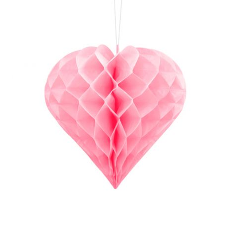 HONEYCOMB HEART, LIGHT PINK, 20CM