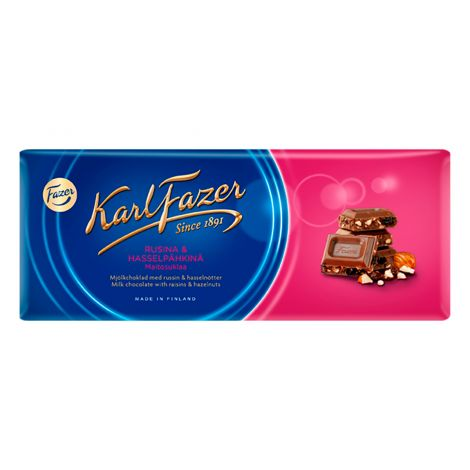 Karl Fazer Rusina & hasselpähkinä maitosuklaa 200g